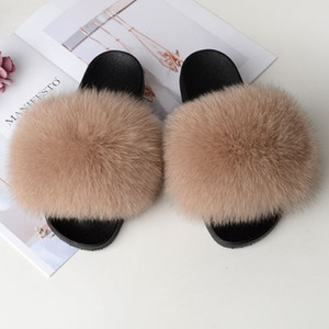 Fur Slippers Slides Fluffy Pelzfell Sandalen Frau Hauspantoffeln Damen süße nette Fuzzy Plüsch Größe Schuhe Frauen