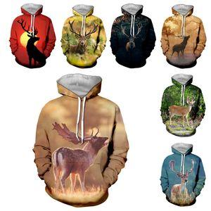 SONSPEE Hommes Femmes Antelope Fashion Sweat 3D Imprimer cerf animal Sweatshirt à capuche Hip Hop Top O Neck Pull Rue C087-15