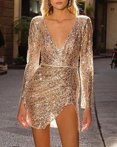 Ninimour partido de las mujeres de la manera elegante de las lentejuelas de oro brillante del vestido profundo atractivo del V cuello escotado de hendidura mini vestido sin la correa