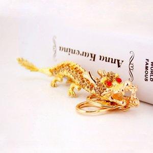 Estilo Chinês criativa diamante cadeia de artesanato chave 12 Zodiac dragão carro pingente de homens chaveiro de metal