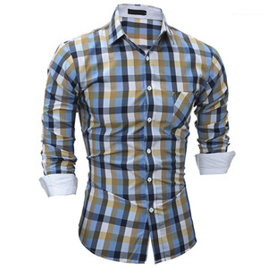 Colorful Plaid Printed Slim Shirts Spring New Style Mens Shirts Casual Style Mens Designer Shirts Fashionable