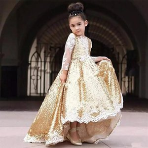 Golden 복고풍의 장식 조각은 고 낮은 꽃 파는 소녀 드레스 결혼식을 위한 귀여운 아이들이 드레스 롱 슬리브는 아플리케이 여자 공식 파티 드레스