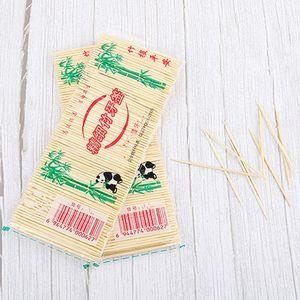 250 PC / sistema de bambú palillo de dientes desechable Natural Ecológico palillo de dientes fruta diente doble echó a un lado los palillos de bambú palillo de dientes hogar BH2369 TQQ