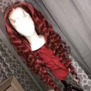 Frente del cordón de las pelucas del cordón del pelo humano # 99J Vino Tinto completa ondulada suelta peruana Borgoña sin cola pelucas de pelo parte media del 150% Densidad