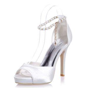 Güzel Fildişi Inciler Düğün Ayakkabı Gelin için Rhinestone Sivri Burun Gümüş Yüksek Stiletto Topuklu Kristal Gelin Parti Nedime Elbisesi Ayakkabı T-St