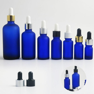 10PCS 5ml 10ml 15cc 1oz 50cc 100ml blue frosted glass bottle Small Empty essential oil liquid Serum Dropper Bottle