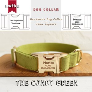 MUTTCO Custom retailing self-design Anti-lost dog collar THE CANDY GREEN poly satin and nylon engraving dog collar or leash 5sizes UDC030J