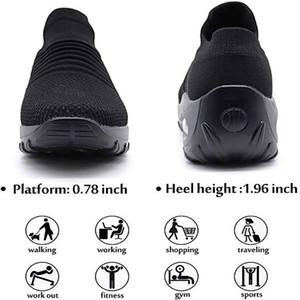 Zapatos de deslizamiento resorte de la mujer en Breathe malla zapatos para caminar las mujeres forman las zapatillas de deporte de los holgazanes Comfort plataforma de la cuña zapatos de mujer Casual
