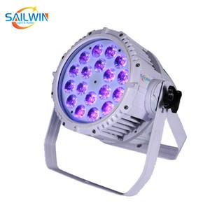 الأبيض حالة 18x18W 6in1 RGBAW الأشعة فوق البنفسجية للماء في الهواء الطلق LED الخفيفة الاسمية DJ الاسمية العارض للحدث نادي الزفاف