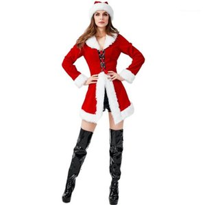 Red Sexy Ladies Cosplay fantasies Party Cos Long Sleeve Fashion 4pc Women Sets Christmas Theme Figurino