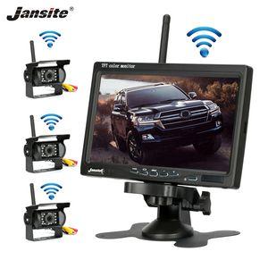 Jansite cámara inalámbrica de camiones de 7 pulgadas para los carros autobús RV remolques imagen Excavadora monitor del revés del coche de 12V-24V cámara de visión trasera
