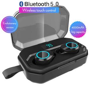 4000mAh X6 Pro TWS Ture Wireless Bluetooth наушники 5,0 наушников Светодиодный дисплей Stereo Bass Sound IPX7 водонепроницаемый Спорт наушников гарнитуры