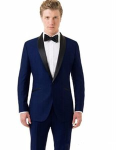 New Classic Design Groom Tuxedos Groomsmen Blue Shawl Lapel Best Man Suit Wedding Men's Blazer Suits (Jacket+Pants+Tie) 1246