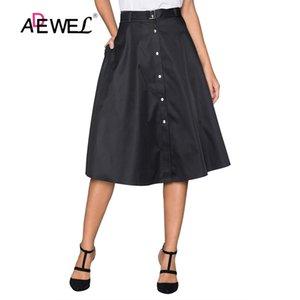 ADEWEL rétro élégant style Boutons avant évasé Midi Jupe Boutons rétro style noir jupes femme Hot A-ligne Jupes Mignon