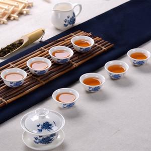 Chinois Kung Fu Celadon Tea Set Céramique Drinkware Inclure Teapot Coupe Soupière infuseur à thé Plateau d'emballage Promotion Boxed cadeau