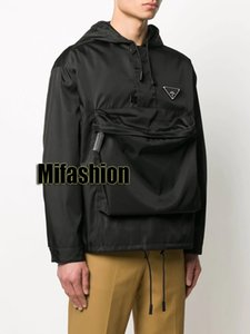 2020 Luxo Europa Itália Milão, Verão, Outono Big bolso Meio Zipper Mens Designer Jacket Mulheres Pele Casaco prova de vento com capuz