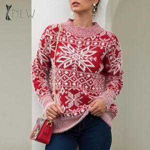Lässige NLW Fluffy Snowflake Pullover Herbst-Winter-Warm Hässliche Weihnachtsstrickjacke Pullover langen Hülsen-Rot Pullover Femme