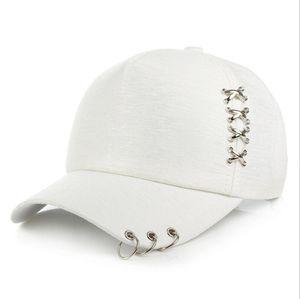 2020 gorra de béisbol de la moda de las mujeres Sombrero de sol Rosa Blanco aire libre del verano protector solar Caps hombres par de anillo de hierro Sombreros Snapback