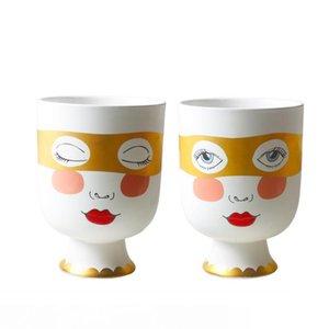 İskandinav Tasarımı Bitki Pot Big Yüz Vazo Altın Göz İnsan Yüz Jar Çiçek Düzenleme Dekoratif Ev için Seramik Baş Vazolar Maske