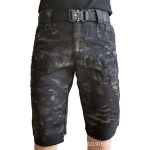Camo Tactical Shorts Mens Summer Outdoor Hiking Sports Combat Training Shorts Multi Pocket Straight Loose Beach