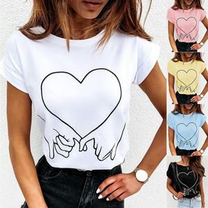 V Neck Sexy Womens T-shirts Verão Impresso manga curta Magro Mulher Tops Moda cor sólida Femme Tees