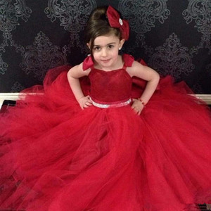 2020 Ball Gown Flower Girl Dresses for Weddings with Bows Lace Up Back Pageant Party Gowns Cheap Special vestidos para niñas