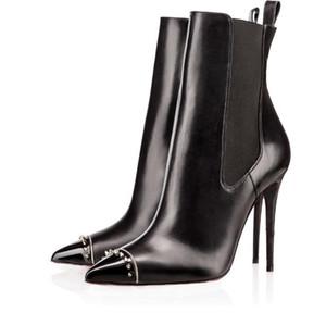 [Подлинный Box] Новых сексуальных женщины Высоких каблуки загрузка Red Bottom голеностопного Winter Real Leather Designer Boots Шипы Черные Ботильоны женщины