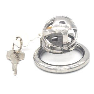 Male Chastity Device Creative Design Stainless Steel Chastity Lock Round Penis Ring Adult SM Sex Toys for Men G7-241C