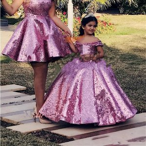 4-14 Years Purple Sequined Glitz Pageant Dresses for Girls Princess Off Shoulder Flower Girls Dresses Corset Back Kids Girls Party