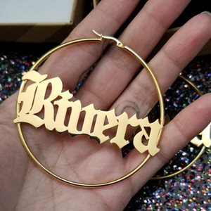Customized Jewelry Gothic Old English Name Earring Personalized Letters Small and Big Hoop Earrings Women Rose Gold Accessories T191107
