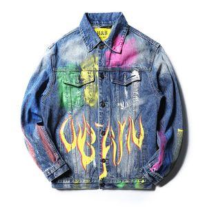 Erkek 2020 Lüks Tasarımcı Giyim Mavi Biker Denim Coat Erkekler Moda Marka Baskı Delik Hip Hop Jean Ceket Varsity Mens Tasarımcısı ceketler