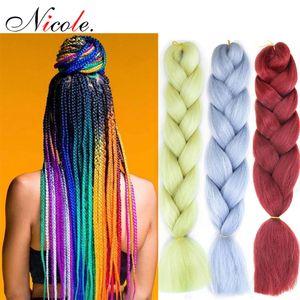 Nicole 24inch Omber Jumbo Tressage Crochet cheveux nouveau style doux Kanekalon Fieber Noir-Violet-Bleu Couleur arc-en-synthétique Extensions cheveux