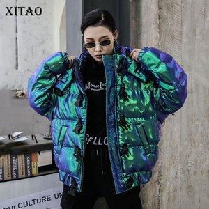Xitao donne tasca di modo Parka 2019 Inverno Cappuccio manica Collare elegante Piccolo fresco allentato minoranza cappotto casuale XJ2777