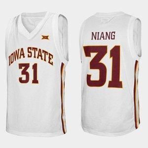 Iowa State Cyclones Collège Georges Niang # 31 Blanc Retro Basketball Jersey Hommes Cousu sur mesure Numéro Nom Jerseys