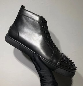 Autunno e inverno Luxury High Top Black, Blu Genuine Leather Bottom Bottom Sneakers Casual Walking Brand Skate Shape Party Dimensioni 35-46