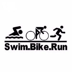 Плавать велосипед запустить Триатлон автомобиль стикер черный/серебро ca518
