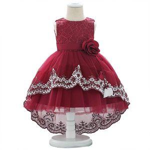 Hot sale lace flower baby girl dress girls dresses baby girl baptism gown christening dress baby girl 1st birthday party dresses B1073