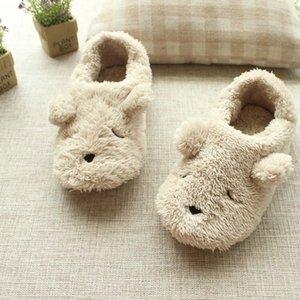De dibujos animados de la felpa del oso del otoño y del invierno en zapatillas de casa las mujeres el envío libre lindo animal dormitorio mocasines zapatillas para adultos