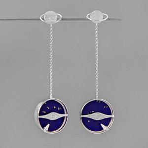 Kadınlar Moda Takı için INATURE 925 Gümüş Lapis Lazuli Galaxy Uzun Bırak Küpe