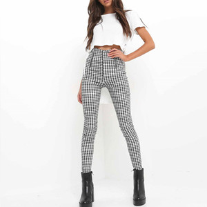 LLYGE Women Side Stripe Trousers 2020 Plaid Pants Gray White Sweatpants Casual Cotton Comfortable Elastic Pants Joggers T200622