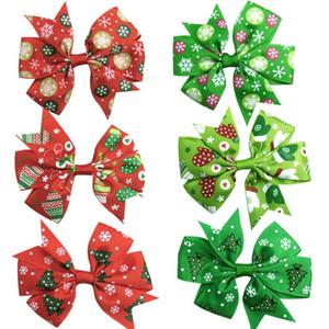 1pcs Lovely Printe Stampe Elastic Hair Bands Girls Ribbon Clips Bow di Natale Ragazza Capelli Cravatta per forcella Accessori per capelli moda fatti a mano