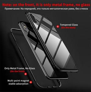 حالة الهاتف المغناطيسي آيفون XS ماكس XR 6/7/8 بالإضافة X الامتزاز الزجاج المقسى الغلاف لوحة الخلفي حالات الهاتف الخليوي شحن مجاني