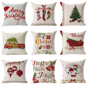 19 Styles 45 * 45CM Flax Home Sofa Car Pillowcase Christmas Series Printing Lovely Dog Pillow Cover Cushion Cover Decor Pillow Case YD0552