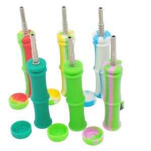 146x30mm Bamboo Knot Silicone ferramenta Tubo Pipes Titanium cigarro prego misturar cores Nails pequeno Exquisite ordem de julgamento 16bs B2