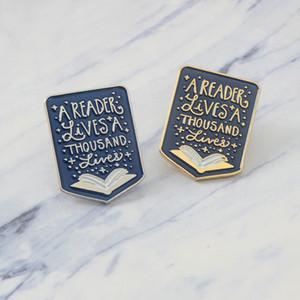 Livro esmalte pin Citação Um leitor vive mil vidas Broche Badge Lapel pin Denim Roupas Jeans Sacos de Presente para Booklover Kid amigo