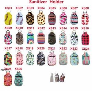 Neoprene Hand Sanitizer Bottle Holder Keychain Bags for 30ml Key Rings Hand soap Bottle Holder 24 Colors LJJK2191