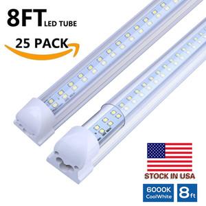 Righe doppie 8 piedi del tubo T8 LED luminoso eccellente 72W 8ft LED tubi integrato ha portato il tubo 384lelds 7000 lumen AC110-240V + azione negli Stati Uniti
