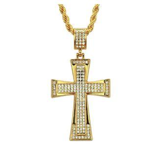Yeni Avrupa ve Amerikan moda trendi erkek hip-hop kişilik elmas Retro çapraz butik kolye kolye kolye Takı