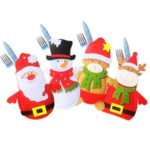 4pcs Santa Claus Christmas Cutlery Holder Bags Fork Spoon Pockets Table Decor Snowman Silverware Holders Ornaments New Year Home