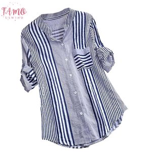 High Quality Casual Women Plus Size Three Quarter Polyester Striped Print V Neck Loose Fit Top Blouse Travel Teenage Holiday Z719